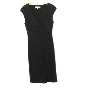 Evan Picone black draped dress 6